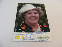 PAULA TILBROOK Signed EMMERDALE Cast Card Photo Autograph Betty Eagleton