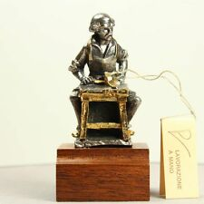 Statuette Cordonnier Figurine Argenté et Doré en Alliage étain vieux métiers