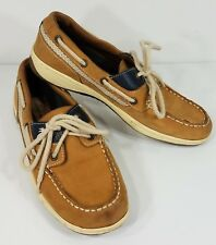 Margaritaville beige tan leather Martinique lace up loafers boat shoes ladies 8