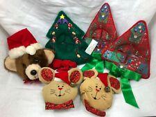 6 CHRISTMAS DOOR KNOB COVER SANTA BEAR PLUSH TREE  MICE DECORATION VINTAGE LOT