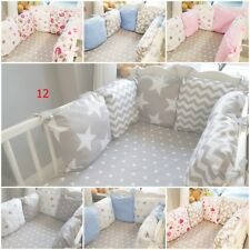 COT BED BUMPER made form 6 cushions GREY PINK BABY BLUE STARS HEARTS CHEVRON