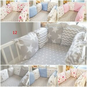PILLOW BUMPER made from 6 cushions filled  GREY PINK BABY BLUE STARS CHEVRON