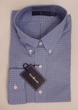 RALPH LAUREN POLO MENS SIZE 17 1/2 XL BLUE WHITE BLACK CLASSIC-FIT SHIRT $145