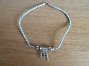 Blue & white cord necklace with 925 silver & semi precious stones