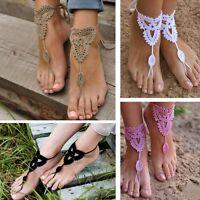 New Crochet Barefoot Sandals Beach Wedding Bridal Anklet Foot Jewelry Bracelet