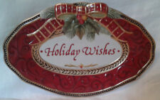 """Fitz and Floyd Damask Holiday """"Holiday Wishes"""" Christmas Oval Ceramnic Plate"""
