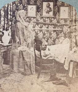 Antique Ghost Wife Spirit STEREOVIEW Photograph Stereoscopic Old Photo Husband