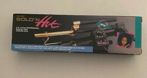 """BELSON GOLD 'N HOT 3/8"""" PROFESSIONAL MARCEL-GRIP CURLING IRON-24K GOLD PLATED"""