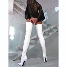 Women Over The Knee Boots Sexy Stiletto Heels Pointed Toe White Dress Party Shoe