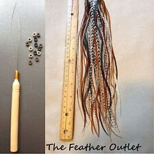 Feathers Hair Extensions Kit Lot 20 Grizzly Solid saddle long Natural NB KIT