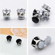 Pretty Black/White Clear CZ Non Pierced Screw Back Magnetic Unisex Stud Earrings