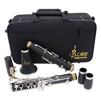 LADE Black Bakelite Professional 17 Key Bb Clarinet & Case & Care Kit & Warranty