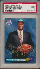 1992 Upper Deck ALONZO MOURNING HOF Signed RC #2 PSA/DNA 9 Rookie Auto239highest