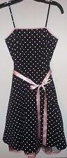 EUC Papaya Fit & Flare Polka Dot Tea Dress w/ Pink Ribbon Sash Juniors Sz Small