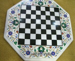12 Inches Floral Pattern Inlaid Marble Chess Table Octagon Unique Coffee Table