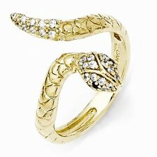 Cheryl M Sterling Silver Gold- Cubic Zirconia Snake Ring Size 6 #1123