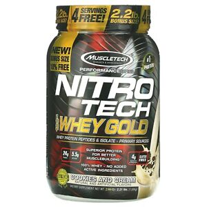 MuscleTech Nitro Tech 100% Whey Gold Protein 2.2 lb Bonus Size - COOKIES & CREAM