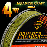 PE Fishing Lines 4 Strands 6LB-90LB Japan Multifilament Braided Wire Fish Tackle