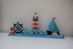Nautical Nursery, Personalised Bedroom Sign, Lighthouse, Nautical Decoration