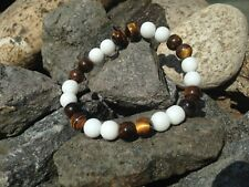 Armband Edelstein Kugeln Perlen Jade (Weiß) Tigerauge Stretch 8mm Chakren Reiki