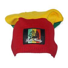 Authentic BOB MARLEY Color Blocking Rasta Lion Patch Beanie Tam Hat NEW