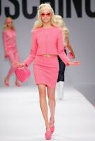 MOSCHINO COUTURE Jeremy Scott $1495 BARBIE Pink SWAROVISKI Stones Diamonds Skirt