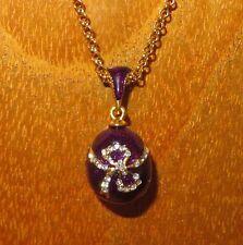 Colgante Collar ruso original de huevo Púrpura Esmalte & Swarovsky Cristales Arco