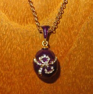 EGG pendant Genuine Russian Necklace PURPLE ENAMEL & Swarovsky Crystals Bow