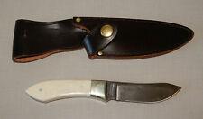 "Parker Cut Co Bone Handle Surgical Steel Fixed Blade Knife/Sheath 7 3/8"" Long"