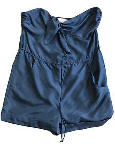 FLEUR WOOD Navy 100% Silk Romper Playsuit Size 1