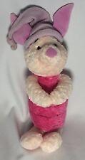 """Disney Baby Piglet Plush Bedtime Toy Rattle Purple Hat Winnie the Pooh Gund 12"""""""
