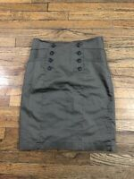 H & M Olive Beige Gray pencil skirt size 6 slit Stretch Cotton Soft Chino Twill