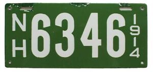 New Hampshire 1914 Porcelain License Plate, 6346, Antique Garage Sign Garden Art