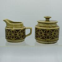Olive Green Brown Geometric Flowers Retro Sugar Bowl & Creamer Vintage MCM Japan