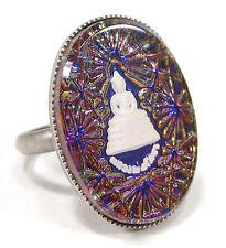 Soho ® anillo vintage Bohemia vidrio bastones 1970´s Buda azul irisierend Handmade