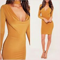 Missguided Yellow Choker Bodycon Long Sleeve Dress Size 8 10 12 US 4 6 8 @ ASOS