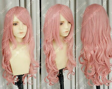 "32"" LUKA dark pink curly Cosplay wig COS H178"