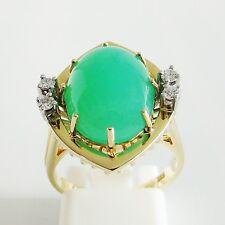 Ring Gold 585er Brillanten Chrysopras Diamanten 14 kt. Goldschmuck Edelsteine