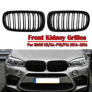 Gloss Black Dual Slats Front Kidney Grille Grill For BMW F15 F16 X5 X6 X5M 14-18