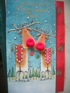 For a Much Loved MUM & DAD Happy Christmas (Reindeers) 3-D Card