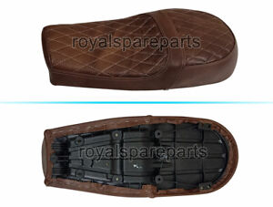 Royal Enfield Diamond Design Leather Dual Seat Brown For GT & Interceptor 650