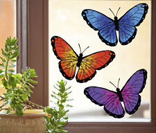 """CLR:WND 3 Butterfly Multipack See-Through Vinyl Window Decal ©YYDC-MED 6""""w x3.75"""