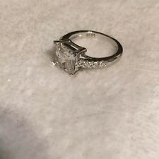 Estate STERLING SILVER 925 PRINCESS CUT CZ Engagement Ring Size 7