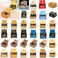 Retro Music Box Wood Hand Cranked Music Box Home Crafts Ornaments Toys Gift Xmas
