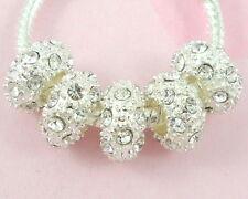10pcs Silver Plated Clear Rhinestone Beads Fit European Charm Bracelet SX11