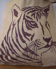 Vintage TIGER Print Canvas Grocery Shopping Shoulder Beach Eco Tote Bag Vegan
