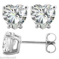 Sterling Silver Earrings CZ Clear Crystal Heart Studs Earrings 6mm