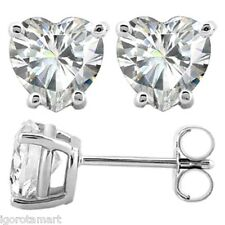 925 Silver 6mm Heart Shape Cubic Zirconia CZ Crystal Stud Earrings  NEW
