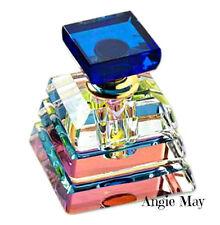Pyramid Perfume Essential Oil Rainbow Vitrail Finish Cut Glass Fragrance Bottle