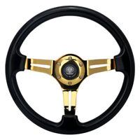 Universal 350mm 14inch Deep Dish Classic ABS Steering Wheel Black + Gold Spoke
